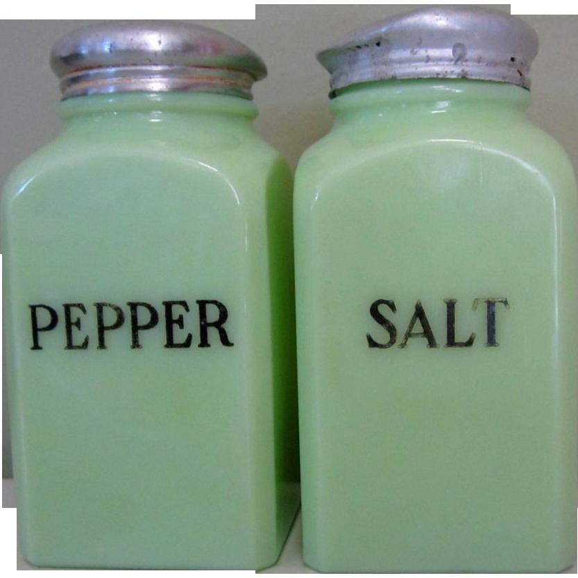 Mckee Jadite Salt Pepper Shakers Block Square Sold On