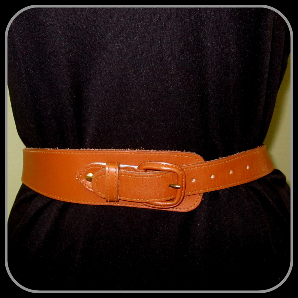 vintage leather belt wide buckle asymmetrical from