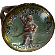 Santa Claus Land, Indiana, Vintage Glass Intaglio Ring