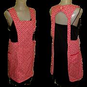 Bib Apron, Vintage 40's Red Cotton