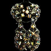 Vintage Rhinestone Earrings, Japanned Drops
