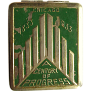 Chicago Worlds Fair Compact, 1933 Art Deco