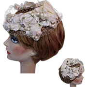 Vintage Hat, Roses, Fruit, Netting, 50's
