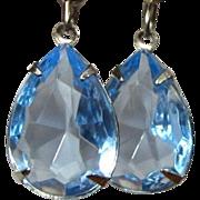 Blue Crystal Earrings, Vintage Drops