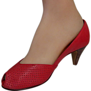 Vintage Red Heels, Peep Toe Pumps, 9 West Shoes
