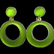 1960's Hoop Earrings, Articulated Moon Glow, Lime & Large