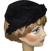 Vintage Black Hat, Velvet, French, 1940's