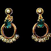 Rhinestone Hoop Earrings, GF Vintage 1930's Deco
