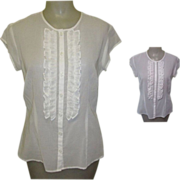 Sheer Blouse, Ruffled 80's, Fine White Cotton
