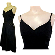 Rhinestone Cocktail Dress, Black, 50's, Vintage