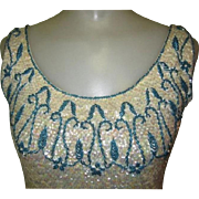 Beaded, Sequined Blouse, Vintage Shell Top, Bead Fringe