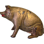 Pig Still Bank, Sitting, Cast Iron Antique AC Williams.