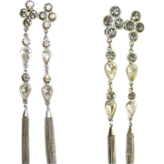 80's Rhinestone Shoulder Duster Earrings, Runway Stunners
