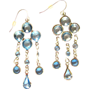 Crystal Earrings, Drop Chandelier, Vintage 1980's Bezel