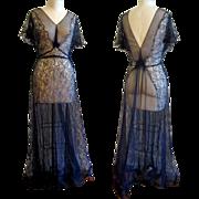 Vintage Evening Gown, Lace 1930's