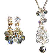 Rhinestone & Crystal Necklace & Drop Earrings, D & E Juliana