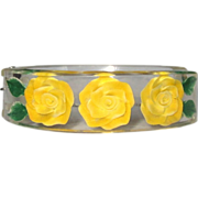 Lucite Clamper Bracelet, Reverse Carved Yellow Rose