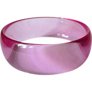 Lavender Lucite Bracelet, Transparent Bangle