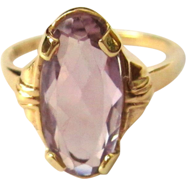 deco amethyst ring 10k 1930 s from lakegirlvintage on ruby