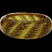 Wheat Bakelite Bracelet, Reverse Carved Prystal, Deco