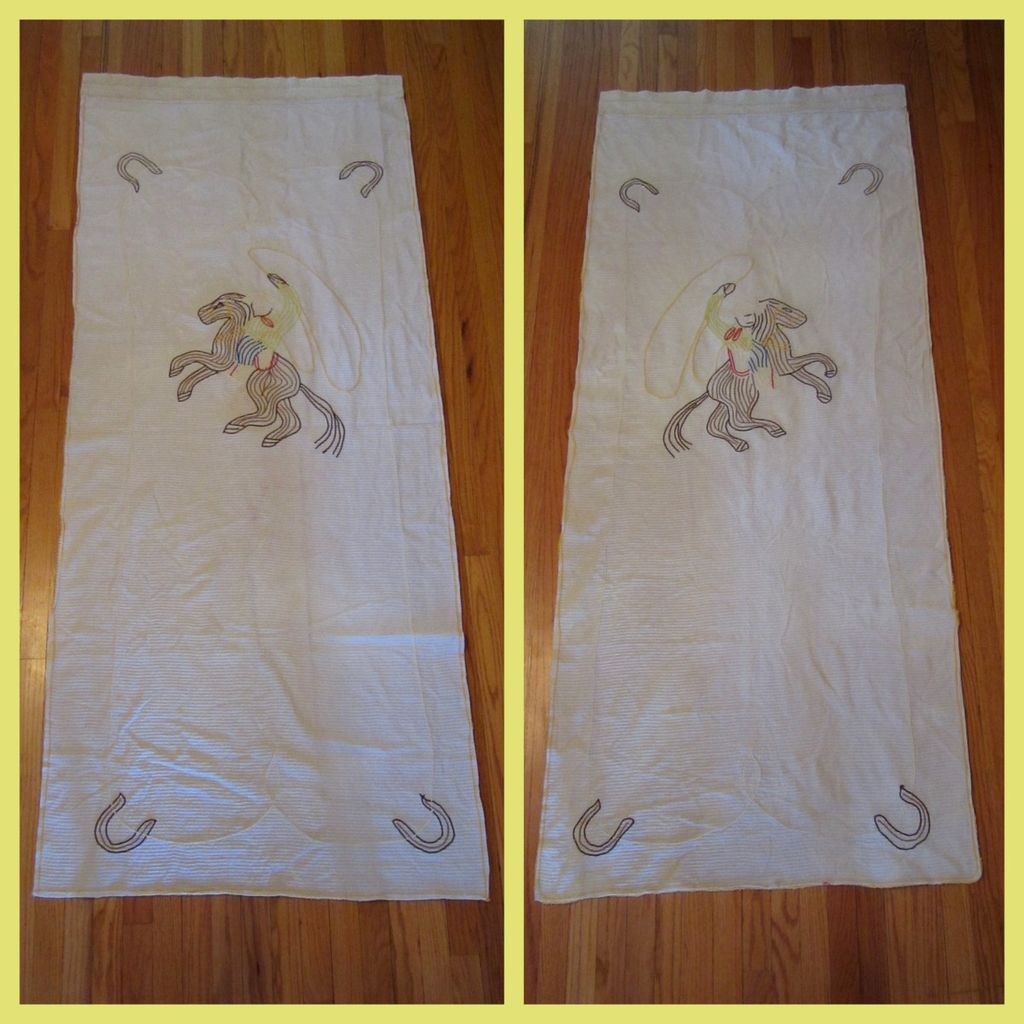 Chenille Cowboy Curtains Vintage Western Panels 1940 S Sold On Ruby Lane