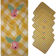 Applique Napkins, Set of 6, Vintage Gingham