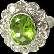 Diamond & Peridot Ring, Vintage Halo, 14K Engagement