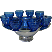 Saturn Punch Bowl Set, Chrome & Cobalt Glass, Deco 40's