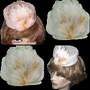Vintage Pillbox Hat, Feathered Stewardess Like Cap