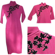 Vintage Chinese Cheongsam Dress, Wool, Silk & Velvet