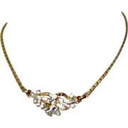 Crown Trifari Rhinestone Necklace, 50's Atomic