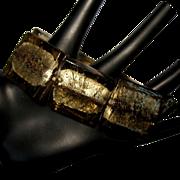 Art Glass Bracelet, Green & Gold & Bold