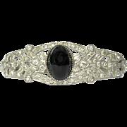 Art Deco Bracelet, Rhinestone Filigree Clamper