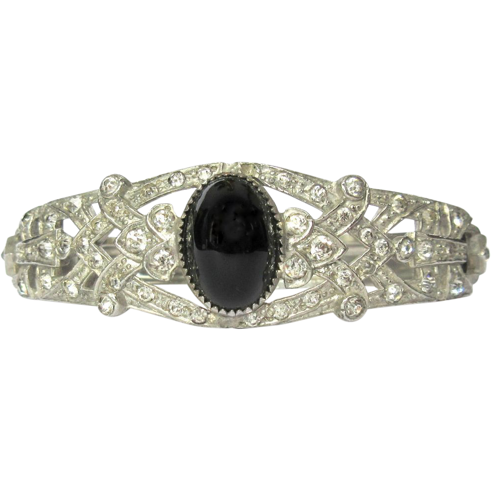 Art deco bracelet rhinestone filigree clamper from for Best place to sell gold jewelry in chicago