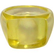 Lucite Ring, Clear Yellow, 1950's