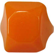 Bakelite Ring, Faceted Art Deco Vintage