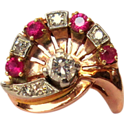 Ruby & Diamond Rose Gold Ring, 14K