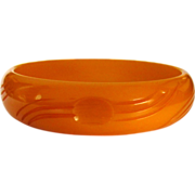 Bakelite Bracelet, Deco Carved Butterscotch