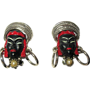 Selro Blackamoor Earrings, Vintage 1950's