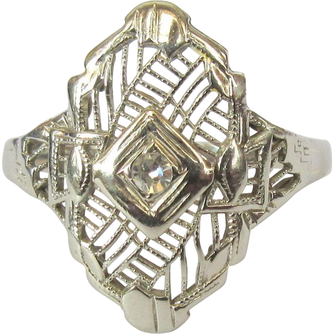 14k filigree ring diamond art deco lake girl vintage for Best place to sell gold jewelry in chicago