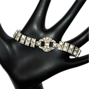 Deco Rhinestone Bracelet, Sterling Dorsons