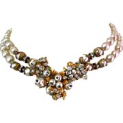 Original by Robert Necklace, Glass Pearl Strands, 1940's