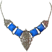 Art Deco Necklace, Filigree, Czech Glass