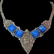 Art Deco Necklace, Filigree, Czech Glass