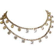 Crystal Necklace, Rhinestone Chain, 80's