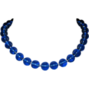 Glass Bead Necklace, Cobalt Vintage