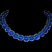 Glass Bead Necklace, Cobalt Vintage