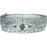 Deco Filigree Bracelet, Rhodium Rhinestone