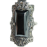 Sterling Deco Ring, Marcasite, Hematite