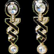 Rhinestone Drop Earrings, Vintage Shoulder Dusters